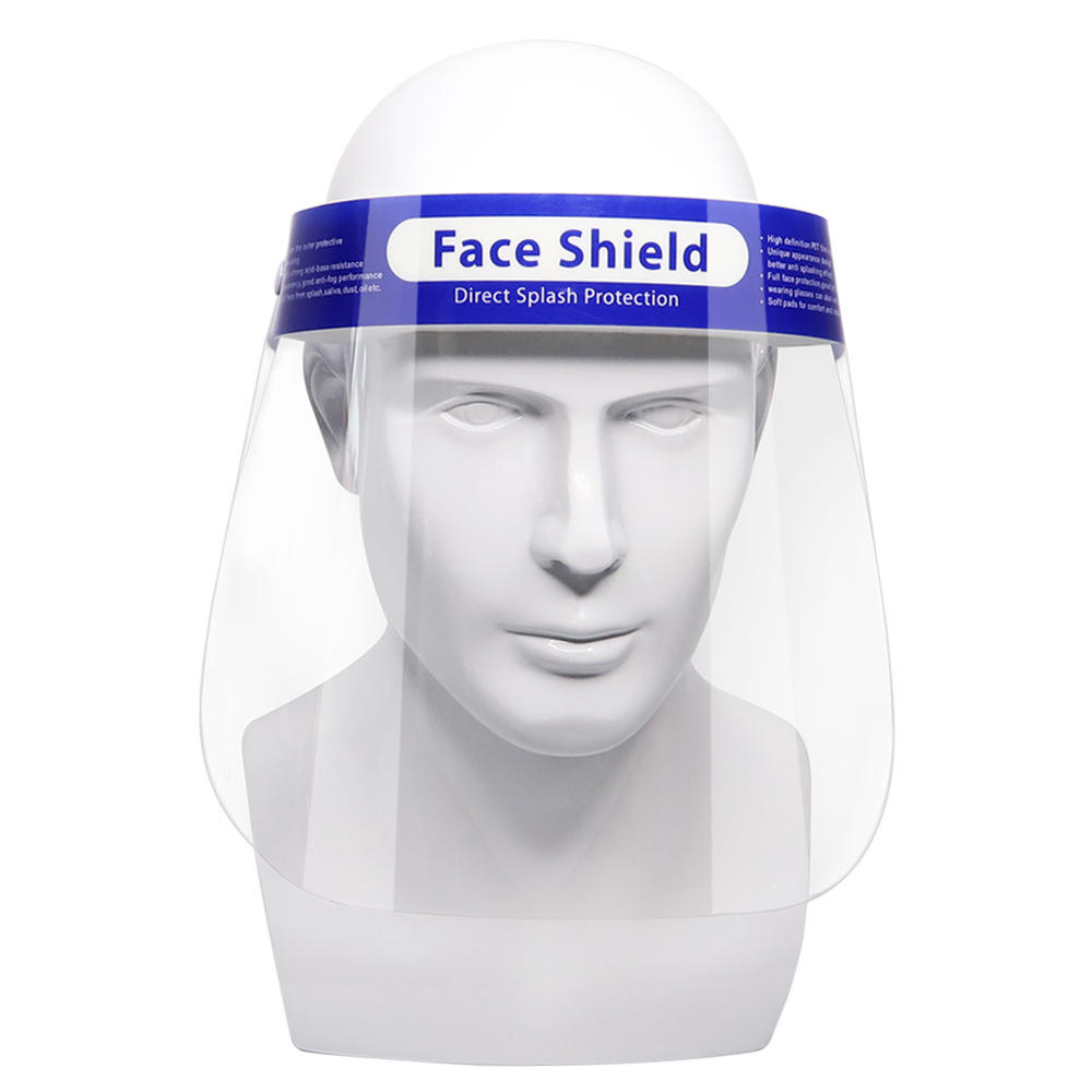 Factory hot product PET film single use safety protective full plastic face shield for sale