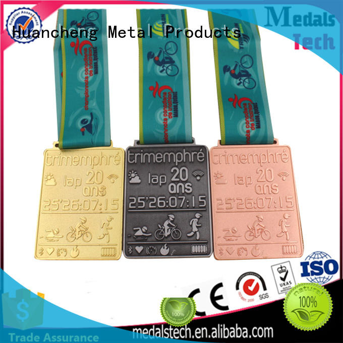 Huancheng Brand popular Bright Gold ribbon custom different types of medals